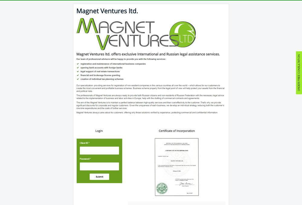Сайт компании Magnet Ventures